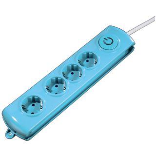 1.40m Hama Steckdosenleiste mit Schalter Blau 4 (00047767)