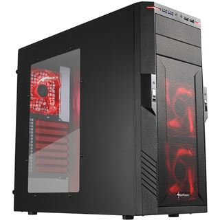 Sharkoon T28 Midi Tower ohne Netzteil schwarz/rot