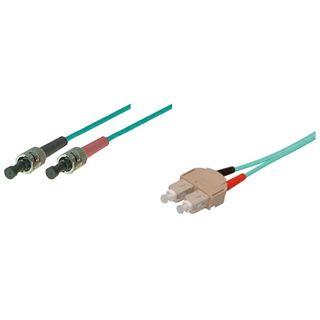 (€9,90*/1m) 1.00m Good Connections LWL Duplex Patchkabel 50/125 µm OM3 SC Stecker auf ST Stecker Türkis