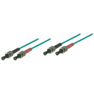 10.00m Good Connections LWL Duplex Patchkabel 50/125 µm OM3 ST Stecker auf ST Stecker Türkis