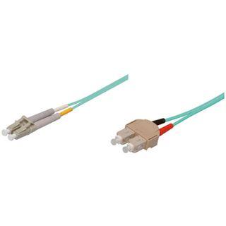 (€1,46*/1m) 15.00m Good Connections LWL Duplex Patchkabel 50/125 µm OM3 LC Stecker auf SC Stecker Türkis