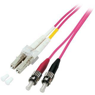 (€10,90*/1m) 1.00m Good Connections LWL Duplex Anschlusskabel 50/125 µm OM4 LC Stecker auf ST Stecker Aqua