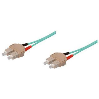 30.00m Good Connections LWL Duplex Anschlusskabel 50/125 µm OM3 SC Stecker auf SC Stecker Aqua