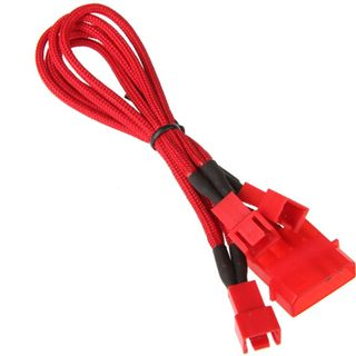 BitFenix Molex zu 3x 3-Pin Adapter 20cm - sleeved red/red