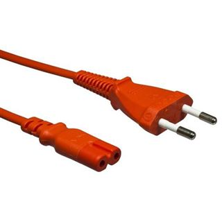 1.80m Good Connections Stromkabel Anschlusskabel Euro 8 Buchse auf Netzstecker Orange