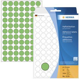 Herma 2235 gruen rund Vielzwecketiketten 1.3x1.3 cm (32 Blatt (2464