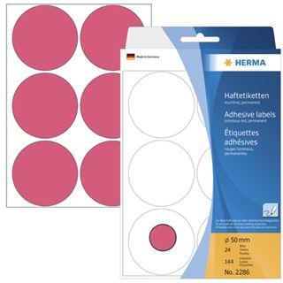 Herma 2286 leuchtrot Vielzwecketiketten 5x5 cm (24 Blatt (144 Etiketten))