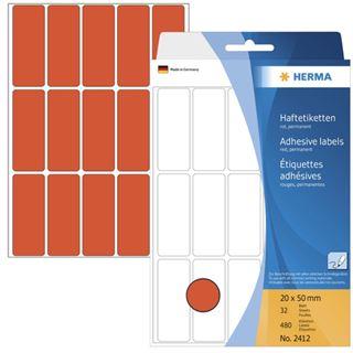 Herma 2412 rot Vielzwecketiketten 2x5 cm (32 Blatt (480 Etiketten))