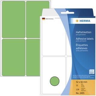 Herma 2495 gruen Vielzwecketiketten 5.2x8.2 cm (32 Blatt (128 Etiketten))