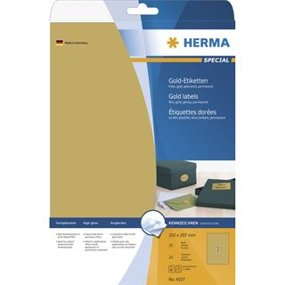 Herma 4107 gold Universal-Etiketten 21.0x29.7 cm (25 Blatt (25 Etiketten))