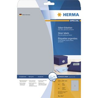 Herma 4117 silber Folie Universal-Etiketten 21.0x29.7 cm (25 Blatt