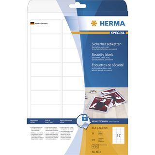 Herma 4233 stark haftend Sicherheitsetiketten 6.35x2.96 cm (25 Blatt