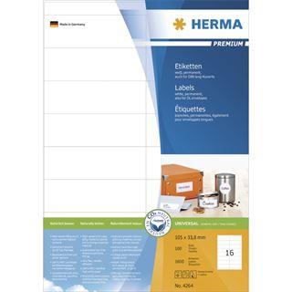 Herma 4264 Premium Universal-Etiketten 10.2x3.8 cm (100 Blatt (1600