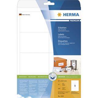 Herma 4359 Premium Universal-Etiketten 9.7x6.77 cm (25 Blatt (200 Etiketten))