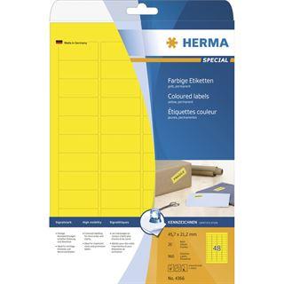 Herma 4366 gelb Universal-Etiketten 4.57x2.12 cm (20 Blatt (960 Etiketten))