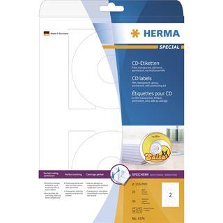 Herma 4374 CD-Etiketten 11.6x11.6 cm (25 Blatt (50 Etiketten))