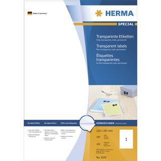 Herma 4376 Folie Transparent-Etiketten 21.0x29.7 cm (100 Blatt (100