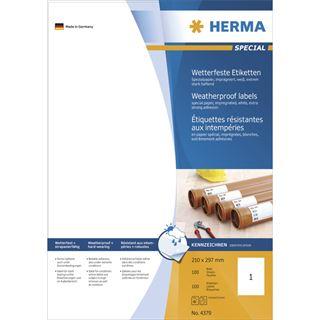 Herma 4379 extrem stark haftend wetterfest Universal-Etiketten 21.0x29.7 cm (100 Blatt (100 Etiketten))