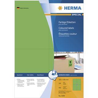 Herma 4399 grün Universal-Etiketten 10.5x14.8 cm (100 Blatt (400 Etiketten))