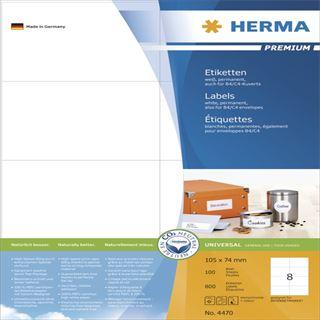 Herma 4470 Premium Universal-Etiketten 10.5x7.4 cm (100 Blatt (800 Etiketten))