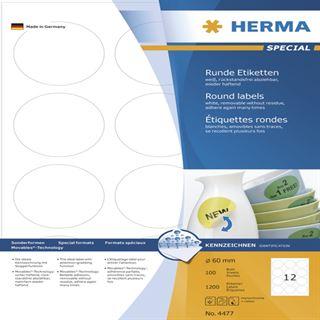 Herma 4477 rund ablösbar Universal-Etiketten 6.0x6.0 cm (100 Blatt (1200 Etiketten))