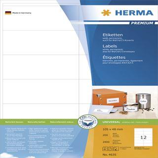 Herma 4635 Premium Universal-Etiketten 10.5x4.8 cm (200 Blatt (2400 Etiketten))