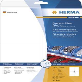 Herma 4697 strapazierfähig extrem stark Universal-Etiketten 10.5x14.8 cm (25 Blatt (100 Etiketten))