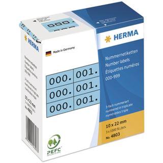 Herma 4803 blau/schwarz selbsklebend 3fach Nummernetiketten 1x2.2 cm