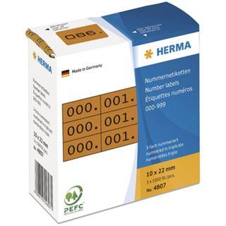 Herma 4807 braun/schwarz selbstklebend 3fach Nummernetiketten 1x2.2