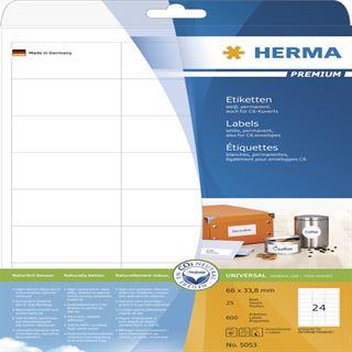 Herma 5053 Premium Universal-Etiketten 6.6x3.38 cm (25 Blatt (600 Etiketten))