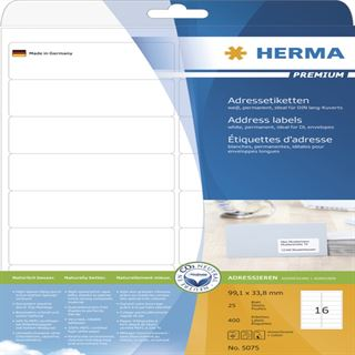 Herma 5075 Adressetiketten 9.91x3.38 cm (25 Blatt (400 Etiketten))