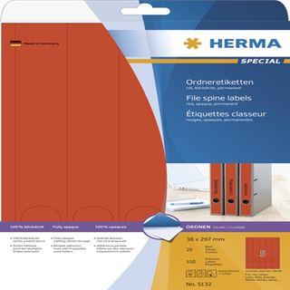 Herma 5132 blickdicht rot Ordneretiketten 3.8x29.7 cm (20 Blatt (100 Etiketten))