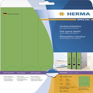 Herma 5134 blickdicht gruen Ordneretiketten 3.8x29.7 cm (20 Blatt