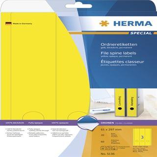 Herma 5136 gelb Ordneretiketten 6.1x29.7 cm (20 Blatt (60 Etiketten))