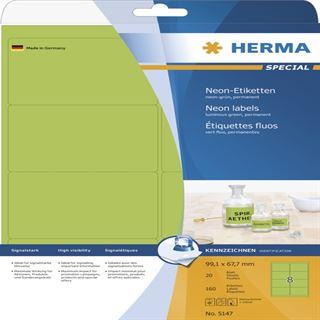 Herma 5147 neon-grün Universal-Etiketten 9.91x6.77 cm (20 Blatt (160 Etiketten))