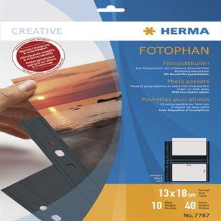 Herma Fotosichthüllen 130 x 180 mm quer schwarz 10 Hüllen