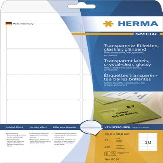 Herma 8018 glasklar folie Universal-Etiketten 9.6x5.08 cm (25 Blatt ( 250 Etiketten))