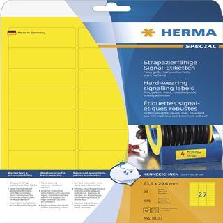Herma 8031 strapazierfähig gelb Signal-Schilder 6.35x2.96 cm (25