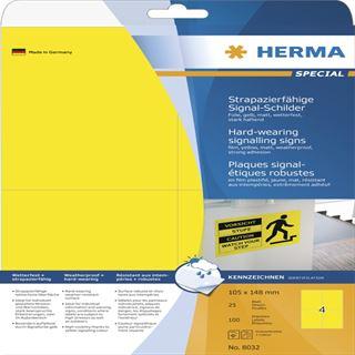 Herma 8032 strapazierfähig gelb Signal-Schilder 10.5x14.8 cm (25 Blatt (100 Etiketten))
