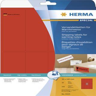 Herma 8325 Warnhinweis neonrot Versand-Etiketten 5x14.2 cm (20 Blatt (160 Etiketten))