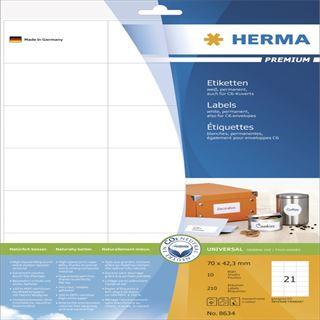 Herma 8634 Premium Universal-Etiketten 7.0x4.23 cm (10 Blatt (210 Etiketten))