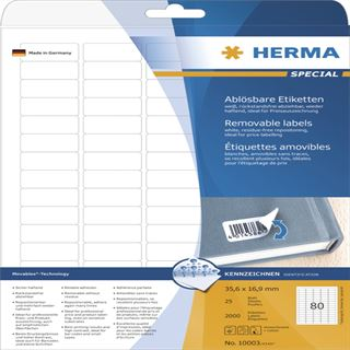 Herma 10003 ablösbar Universal-Etiketten 3.56x1.69 cm (25 Blatt
