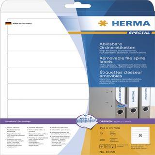 Herma 10150 ablösbar blickdicht Ordneretiketten 19.2x3.4 cm (25 Blatt (200 Etiketten))
