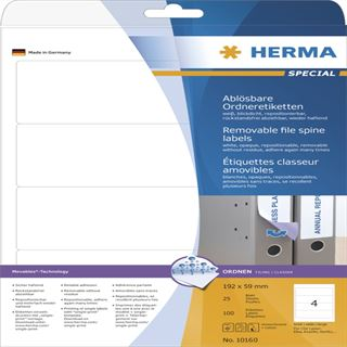 Herma 10160 ablösbar blickdicht Ordneretiketten 19.2x5.9 cm (25 Blatt (100 Etiketten))