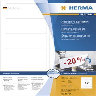 Herma 10304 ablösbar Universal-Etiketten 8.89x4.66 cm (100 Blatt (1200 Etiketten))