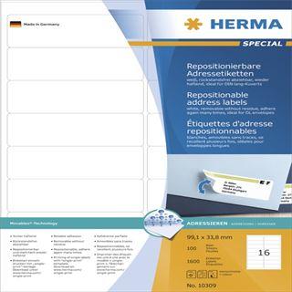 Herma 10309 Adressetiketten 9.91x3.38 cm (100 Blatt (1600 Etiketten))