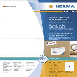 Herma 10312 repositionierbar blickdicht Adressetiketten 9.91x6.67 cm (100 Blatt (800 Etiketten))