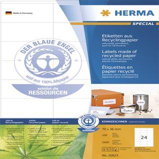 Herma 10823 Recycling Universal-Etiketten 7.0x3.6 cm (100 Blatt (2400