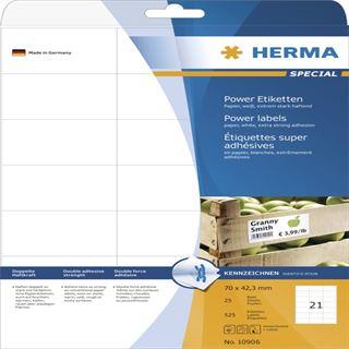Herma 10906 stark haftend Universal-Etiketten 7.0x4.23 cm (25 Blatt