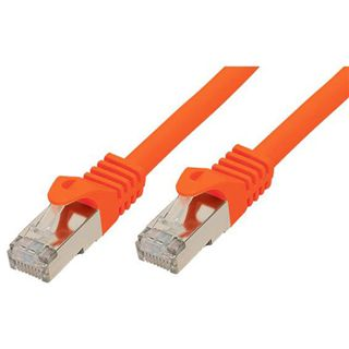 (€15,60*/1m) 0.25m Good Connections Cat. 7 Rohkabel Patchkabel S/FTP PiMF RJ45 Stecker auf RJ45 Stecker Orange halogenfrei